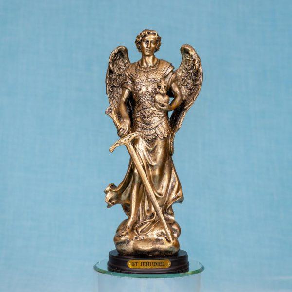 Estatua Arcángel Zadquiel resina color bronce 8 pulgadas